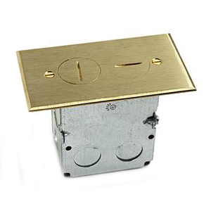 Lew SWB-2 Duplex Receptacle, 1-Gang, Floor Box Assembly, Brass Floor Plate