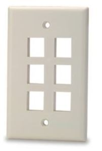 Signamax SKF-6-WH 6-Port Single-Gang Keystone Faceplate, White