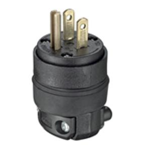 Leviton 515PR 15 Amp Plug, 125V, 5-15P, Rubber, Black, Commercial Grade