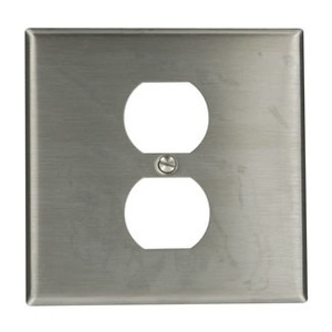 Leviton 84039-40 2-Gang Wallplate, (1) Duplex, Type 302 Stainless Steel, Standard