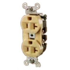 Hubbell-Kellems 5362I Duplex Receptacle, 20A, 125V, Ivory, 5-20R