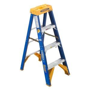 Werner Ladder OBEL04 4' Job Station Step Ladder, Type IAA, 375 lbs