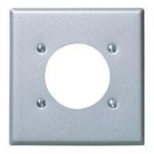 "Leviton S701-GY Power Outlet Wallplate, 2G, (1) 2.465"" Hole, Aluminum Finished Steel"