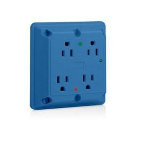 Leviton 8480-IGB 4-in-1 Receptacle, Blue