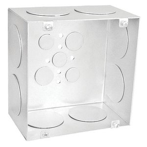 """Garvin Industries 6350-1-1/2 6"""" Square Box, Welded, Depth: 3-1/2"""", Knockouts: 1-41/2"""" & 3/4"""" & 1/2"""""""