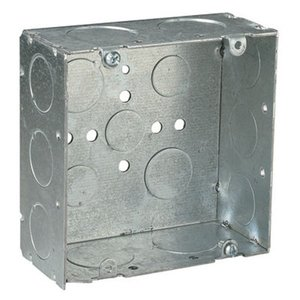 "Steel City 72171-3/4-1 4-11/16"" Square Box, Welded, Metallic, 2-1/8"" Deep"