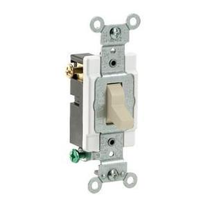 Leviton 54504-2I 4-Way Switch, Framed Toggle, 15A, 120/277V, Ivory, Side Wired