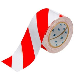 "Brady 104348 Floor Marking Tape, 3""x100', Red/White Striped"
