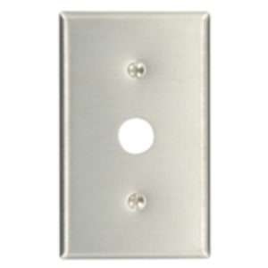 "Leviton 84037-40 Phone/Cable Wallplate, 1-Gang, .625"" Hole, 302 SS"