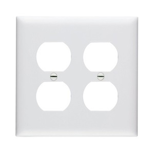 Pass & Seymour TP82-W Duplex Receptacle Wallplate, 2-Gang, Nylon, White
