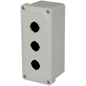 Allied Moulded AM3PB Wall mount enclosure assembly with 3 pushbutton holes in cover