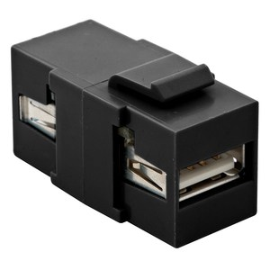 Hubbell-Premise SFUSBAA3BK Snap-In Coupling, Keystone, USB 3.0, A-A, Pass-Thru/Female, Black