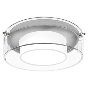 "Lightolier D4A14 Drop Opal Trim, 4"", Clear Glass/Satin Aluminum Ring"