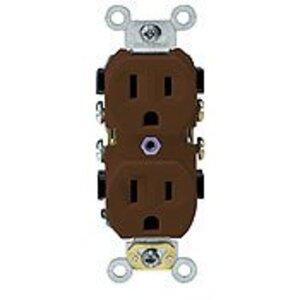 Leviton BR15 15 Amp Duplex Receptacle, 125V, Brown