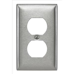 Hubbell-Kellems SS8 Duplex Receptacle Wallplate, 1-Gang, Stainless Steel