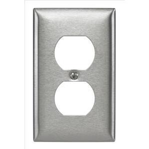 Hubbell-Kellems SS8 Duplex Receptacle Wallplate, 1-Gang, Stainless Steel