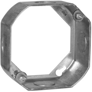 "Hubbell-Raco 128 4"" Octagon Box Extension Ring, 1-1/2"" Deep, 1/2"" KOs, Steel"