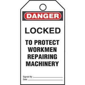 Panduit PVT-57-Q Plastic Tag, 'Danger Locked To Protect .