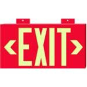 Brady 90885B Exit Sign, Glow, Non-Electric, Red