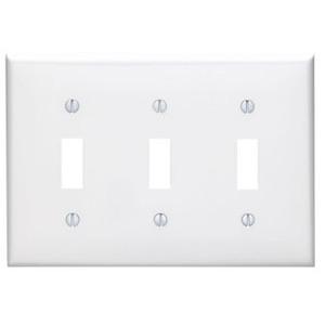 Leviton 80711-W Toggle Switch Wallplate, 3-Gang, Nylon, White