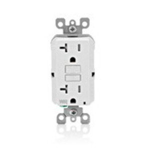 Leviton GFWT2-W Tamper/Weather Resistant GFCI Receptacle, 20A, 125V, White