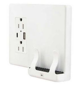 Hubbell-Wiring Kellems USB1528AC Wireless Phone Charger w/ 15A Duplex Receptacle & USB Outlets, White