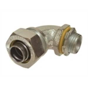 "Hubbell-Raco 3422 Liquidtight Connector, 90°, 1/2"", Malleable Iron"