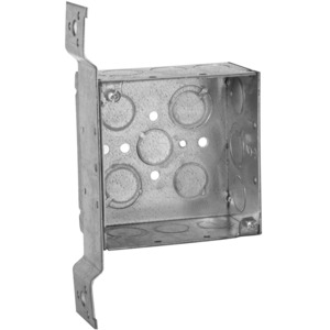 "Hubbell-Raco 237 4"" Square Box, Welded, Metallic, 2-1/8"" Deep, FM Bracket"
