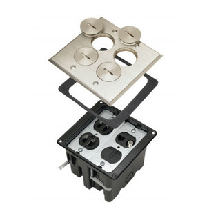 Pass & Seymour FB2-TR-DRKS4-N Floor Box Assembly, Includes Duplex Receptacle, Nickel Floor Plate