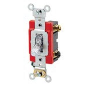 Leviton 1222-PLC Double-Pole Pilot Light Toggle Switch, 20A,120V, Clear, LIT WHEN ON