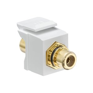 Leviton 40830-BWE Speaker Snap-In Adapter, RCA, Gold/Black Stripe/White