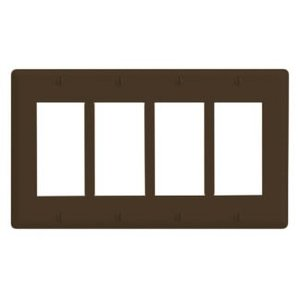Leviton 80412-N Decora Wallplate, 4-Gang, Nylon, Brown