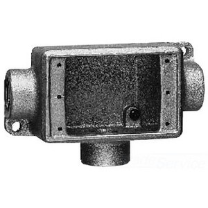 """Cooper Crouse-Hinds FDCT3 FD Device Box, 1-Gang, Feed-Thru, Type FDCT, 1"""", Malleable Iron"""