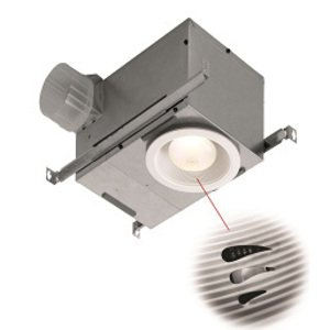 """Broan 744SFL Recessed Humidity Sensing Fan/Fluorescent Light, Energy Star, 70 CFM, 1.5 Sones. 6"""" white trim. Uses 14W R30 fluorescent bulb (bulb included)."""