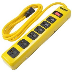 Coleman Cable 5139N 6 Outlet Metal Strip, 6 Ft, Yellow