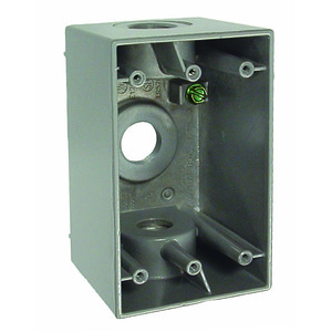"Hubbell-Raco 5385-0 Weatherproof Outlet Box, 1-Gang, 2-5/8"" Deep, (3) 1/2"" Hubs"