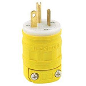 Leviton 1433 20 Amp Plug, Dustguard, 125V, 5-20P, Yellow