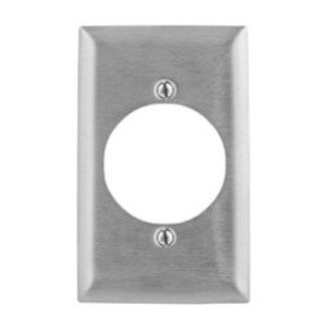 """Hubbell-Bryant SS723 Power Outlet Wallplate, 1-Gang, 2.15"""" Hole, Stainless Steel"""