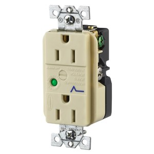 Hubbell-Wiring Kellems HBL5262ISA DUP SPD RCPT, 15A 125V, 5-15R, IV, ALARM