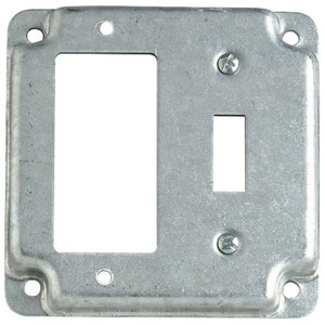 """Steel City RS-18-CC 4"""" Square Exposed Work Cover, (1) GFCI, (1) Toggle Switch"""
