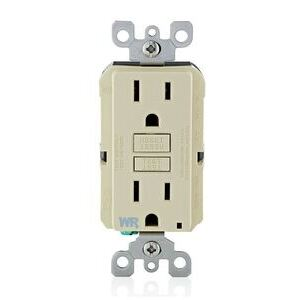 Leviton GFWR1-XI Weather Resistant Slim GFCI Receptacle, 15A, Ivory, 20A Feed Through