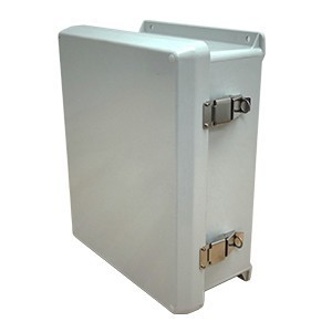 "Vynckier VJ1816HWPL2 Junction Box, NEMA 4X, Hinge Cover, 18"" x 16"" x 10"", Fiberglass"