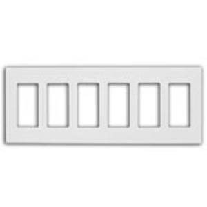 Leviton 80326-SI Screwless Decora Wallplate, 6-Gang, Polycarbonate, Ivory