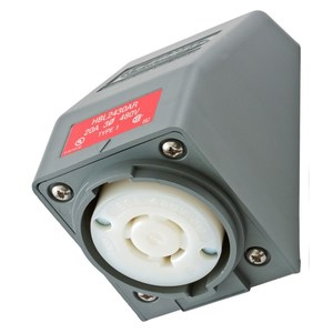 Hubbell-Wiring Kellems HBL2430AR Locking Angled Receptacle, Safety Shroud, 20A, 3PH Delta 480V, L16-20R