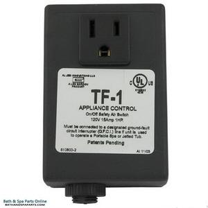 "SPA Builders TF1 Single Air Switch Kit: 15A Duplex & 15' Tube - HxWxD: 3.75"" x 2.56"" x 1.69"""