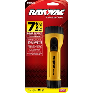 Rayovac IN2C Industrial Safety Flashlight, Yellow, 2-Cell, D Size