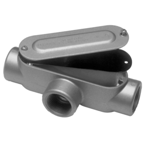 "Red Dot DAT-1-CG Conduit Body, Type: T, Size: 1/2"", Cover/Gasket, Aluminum"