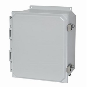 "Allied Moulded AMP1206LF Enclosure, NEMA 4X, Hinge Cover, 12"" x 10"" x 6"""