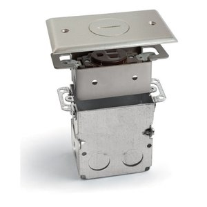 Lew SWB-1-NP Floor Plate Assembly, Receptacle Box, Nickel Plated