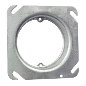 "Steel City 52-C-3-3/4 4"" Square Fixture Cover, Mud Ring, 3/4"" Raised, Drawn, Metallic"
